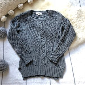 Classic Cable Knit Side Split Fisherman Sweater